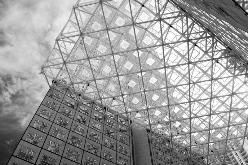 Look up in downtown Miami stock photography