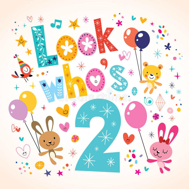 Look Whos Two Second Birthday Card Stock Vector Illustration of