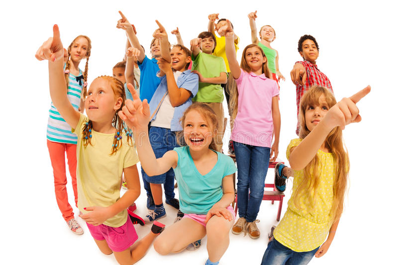 Look who is there, many kids group royalty free stock photography