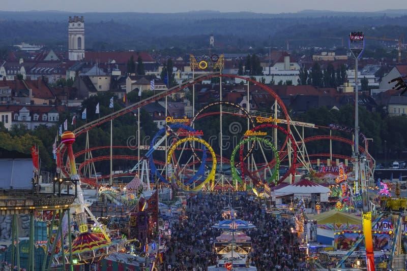 Oktoberfest beer festival in Munich, Germany. Look at the Wiesn, Munich Oktoberfest Beer Festival, Bavaria, Germany royalty free stock image