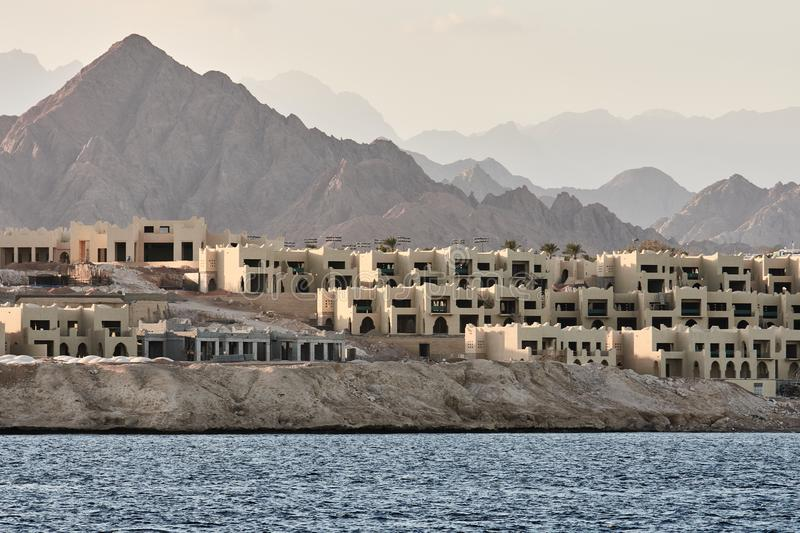 Villages on coast at Sharm al Sheikh. Look from yacht on Villages on coast at Sharm al Sheikh stock photography