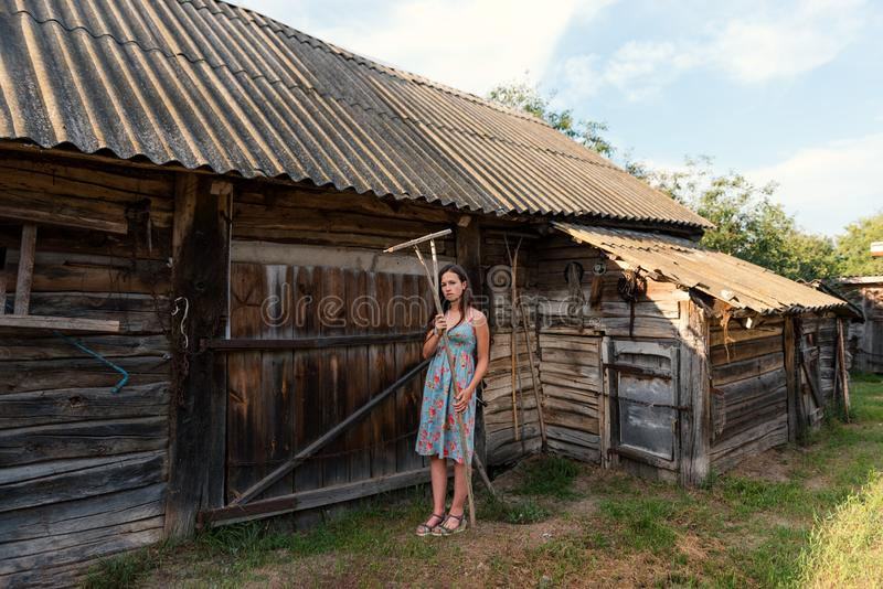 LookBook portret dziewczyna w nieociosanej rocznik sukni z świntuchami blisko wiejskiego cowshed w podwórzu i stajni zdjęcia stock