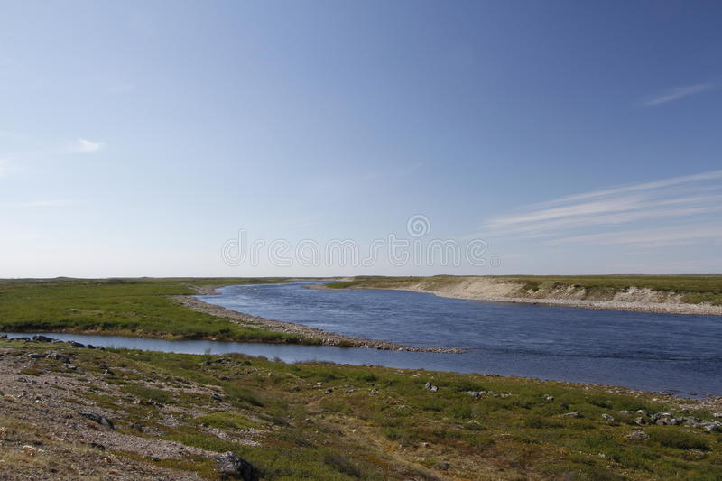 Looking across Maguse River north of Arviat. Located in Nunavut stock photo