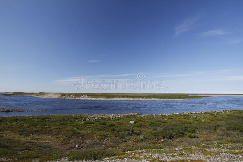 Looking across Maguse River north of Arviat. Located in Nunavut royalty free stock images
