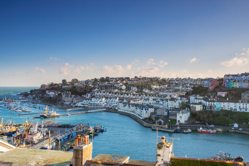 Looking across the rooftops of Brixham marina and harbour in South Devon. The fishing port of Brixham in Devon stock images