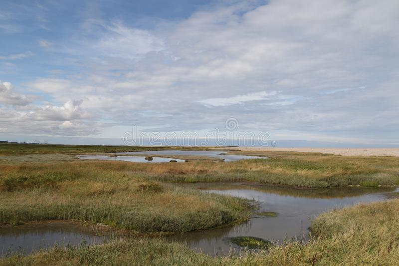 Looking across the Salt marshes at Cley stock image