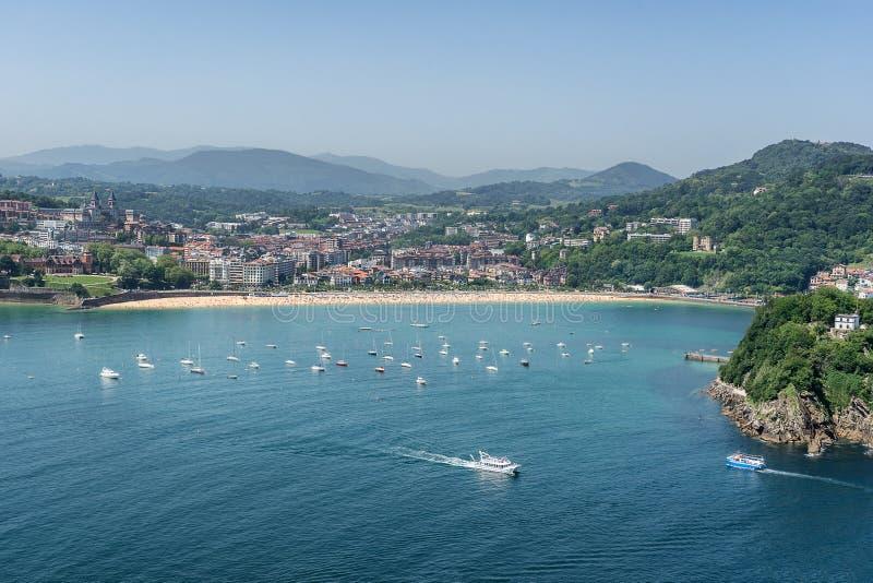 Ondarreta beach in San Sebastian royalty free stock photography