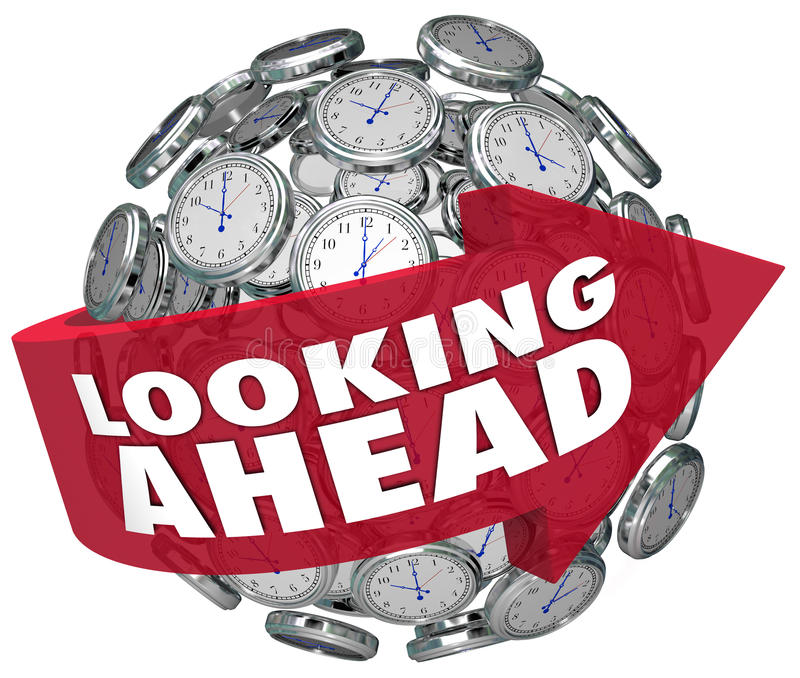 Looking Ahead Time Clock Forecasting Prediction Future vector illustration
