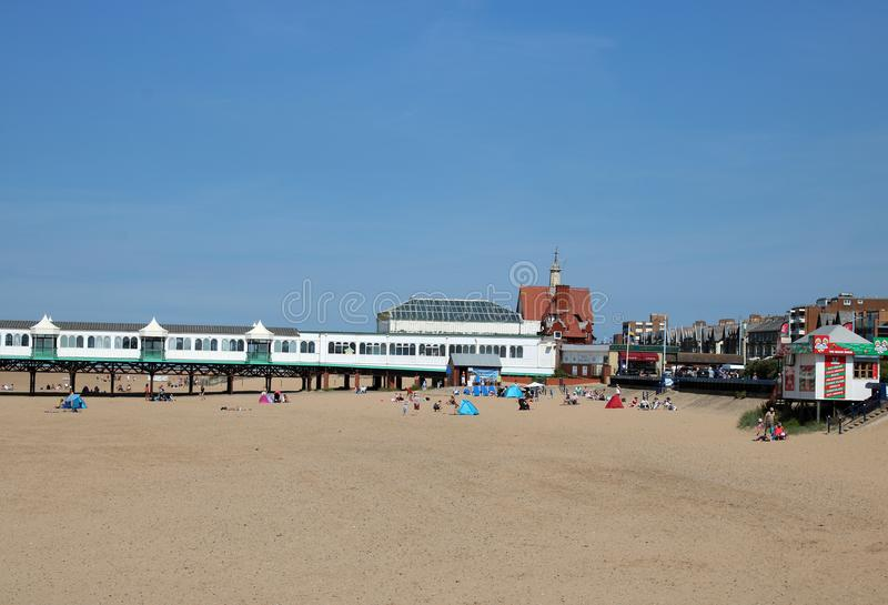 St Anne`s pier and beach at St Anne`s-on-the-Sea stock photos