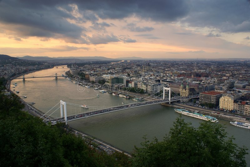 Looking Along The Danube In Budapest Stock Image
