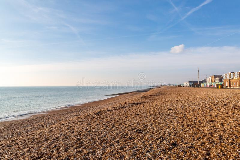 Hove Beach View. Looking along Hove seafront towards Shoreham, on a sunny winters day royalty free stock photo