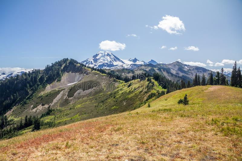 Looking along Skyline Divide to Mt. Baker, WA, USA stock image