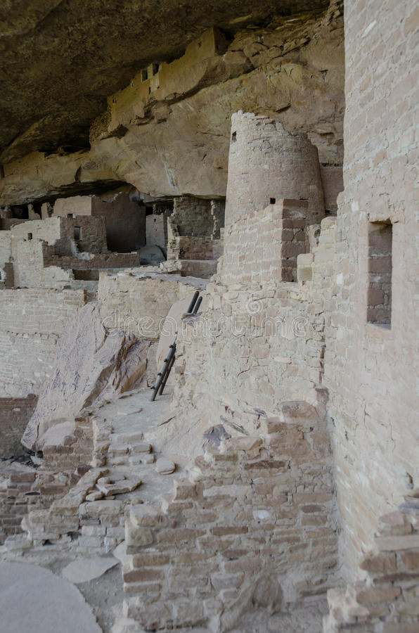 Looking back at Cliff Palace. A vertical shot from the right side of Cliff Palace in Mesa Verde National Park royalty free stock photo
