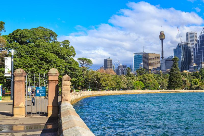View of the Royal Botanic Garden and city skyline, Sydney, Australia. Looking back at Sydney from Mrs Macquaries Point. In the foreground, the Royal Botanic stock images