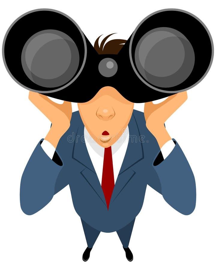 Looking through binoculars stock illustration