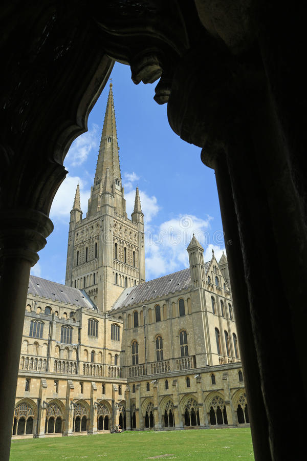 Looking through the cloisters. To the cathedral in Norwich. A different perspective of the building stock image