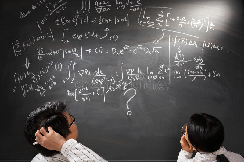 Looking at difficult complex equation stock image