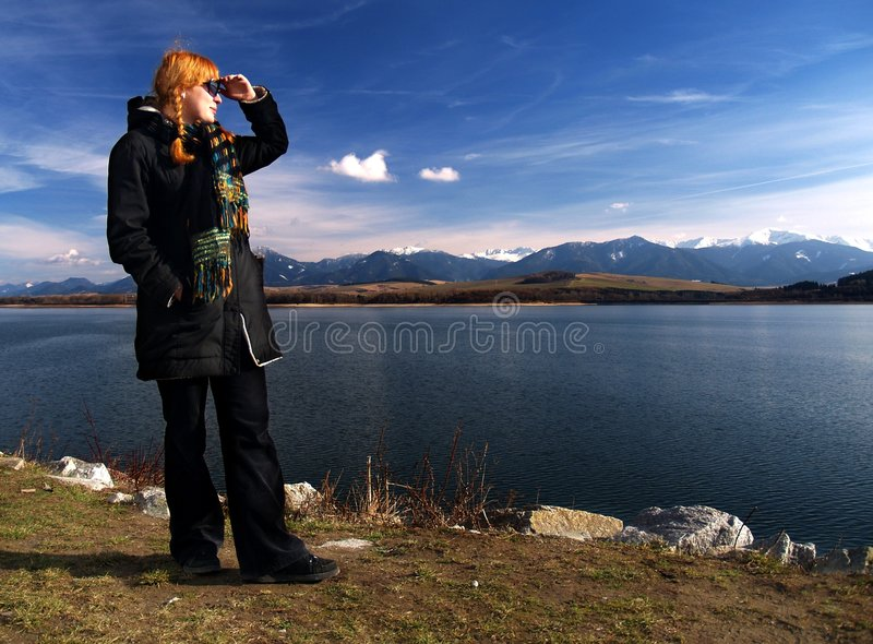 Looking into distance stock photography