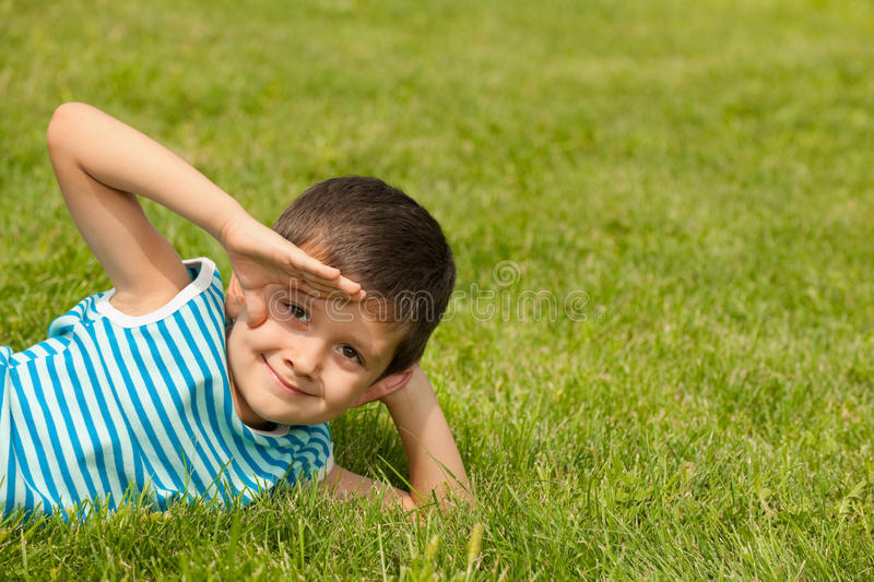 Download Looking Into The Distance Little Boy Stock Photo - Image: 26156874