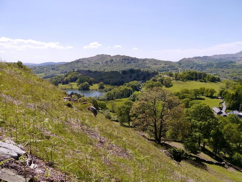 Looking down and across to Loughrigg Tarn, Lake District. Looking down from hillside over to Loughrigg Tarn royalty free stock photo