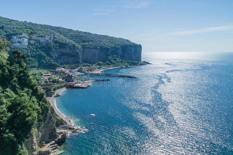 Looking down on Amalfi coast at Vico Equense, near Sorrento in Italy royalty free stock images