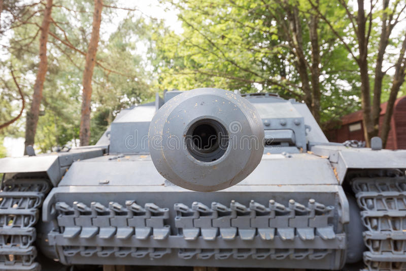 Looking down the barrel of a tank stock photo