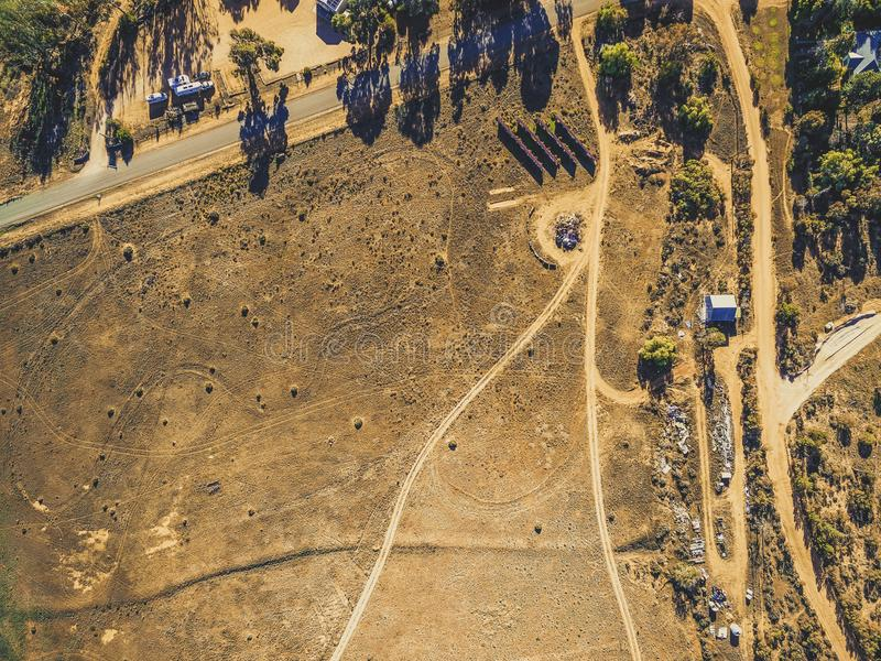 Looking down at barren deserted land. royalty free stock photos