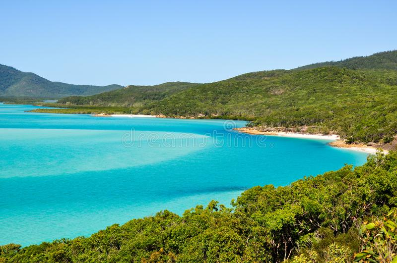 Looking down at the bay behind White Haven Beach royalty free stock photo