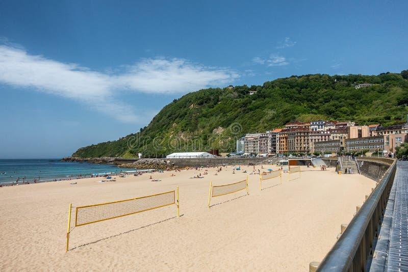 Zurriola beach in San Sebastian royalty free stock photo