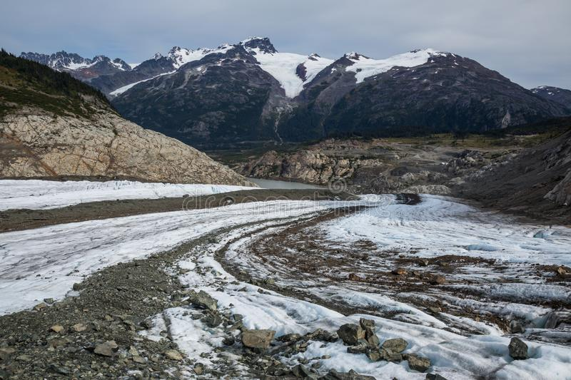 Looking down Berendon Glacier in the Boundary Mountain Range in British Columbia. Looking down the Berendon Glacier in the Boundary Range of British Columbia royalty free stock photo
