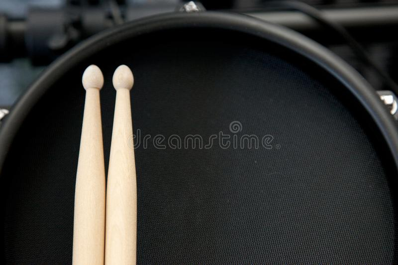 Top view snare and sticks royalty free stock images