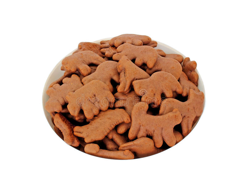 Looking Down Bowl Chocolate Animal Cookies stock photography
