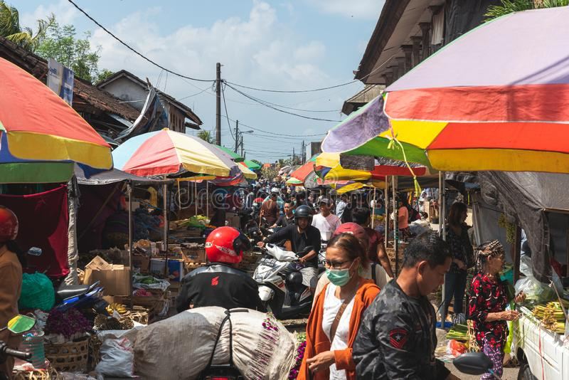 Looking down a busy way with lots of people and markets on the side of the lane July 22 2019 royalty free stock images