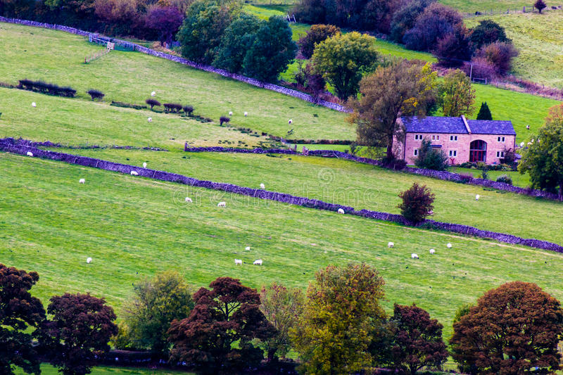 Looking down on Castleton. Derbyshire England stock photo