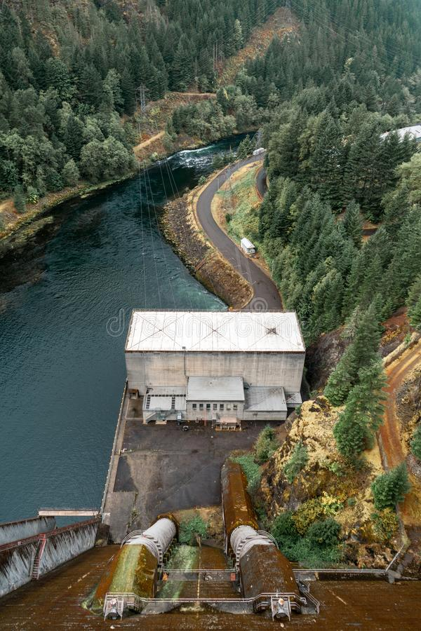 Looking down the dam of Detroit Lake in the beautiful national forests. Surrounding Portland Oregon royalty free stock photos