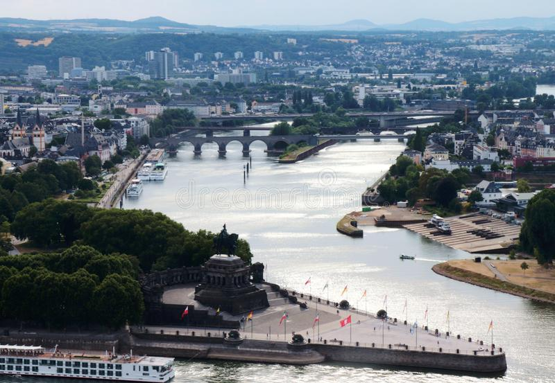 Aerial view of Koblenz royalty free stock photos
