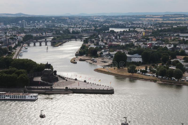Aerial view of Koblenz stock photography