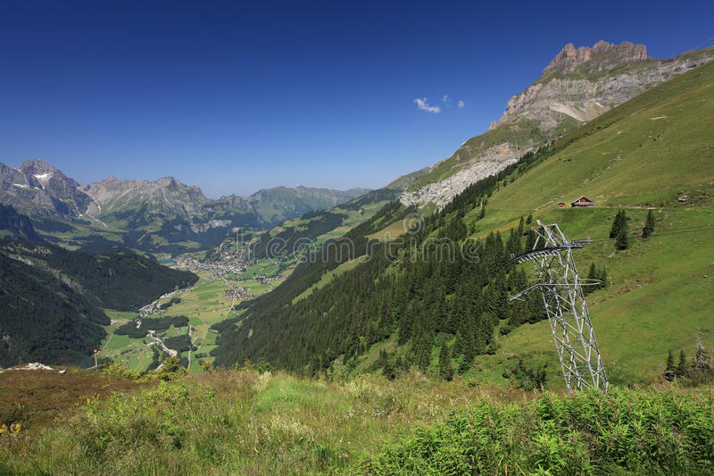 Looking down at Engelberg from Fuerenalp stock photo