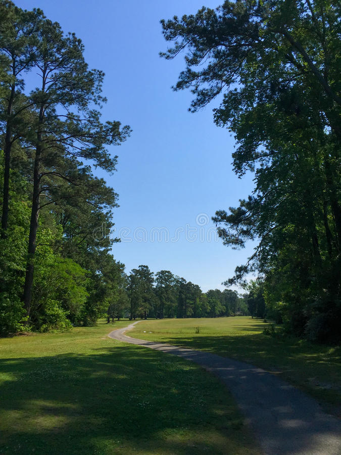 Looking down a fairway from a tee box. View of the fairway from the tee box stock photography
