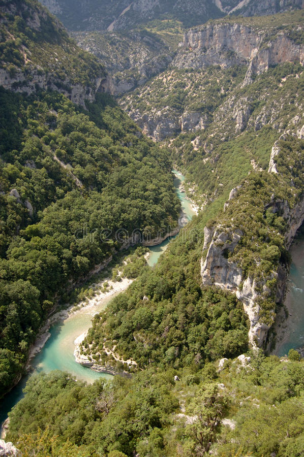Looking down into Gorges du Verdon. Provence France from viewpoint royalty free stock photography