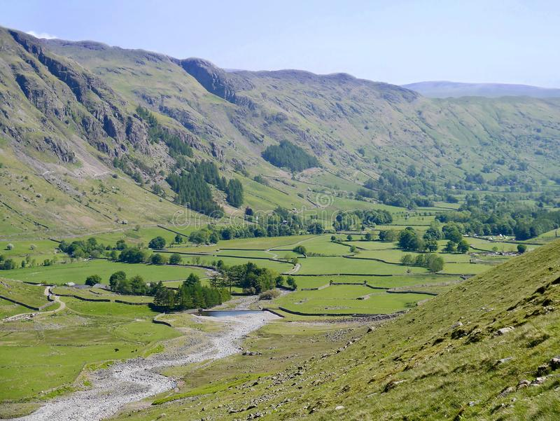Looking down into Great Langdale, Lake District. Looking from the east through Great Langdale valley royalty free stock photo