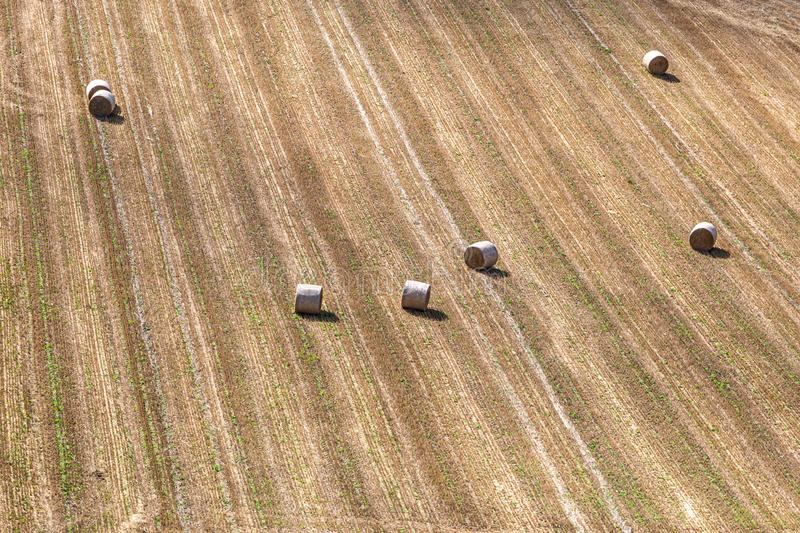 Hay Bales in a Field in Sussex. Looking down at hay bales in a harvested field, on a sunny late summers day royalty free stock photo