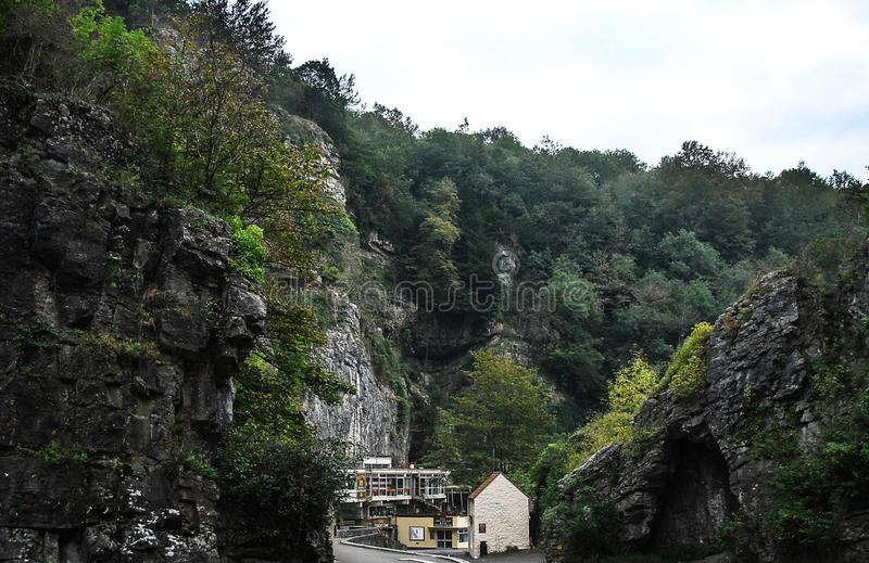 Cheddar Gorge. Looking down the main road through Cheddar gorge royalty free stock images
