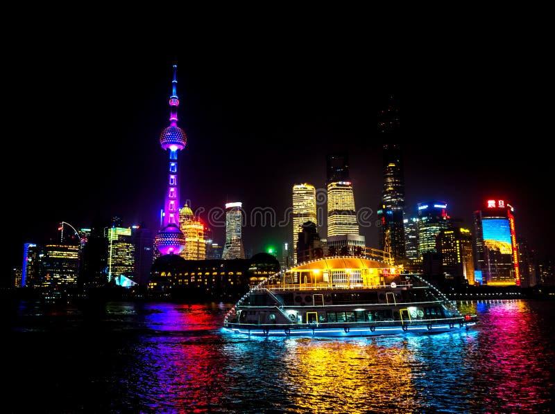 Oriental Pearl TV Tower Pudong Bund Huangpu River Shanghai China. Looking Down Oriental Pearl TV Tower Pudong Bund Huangpu River Skyscrapers Cityscape Shanghai royalty free stock images