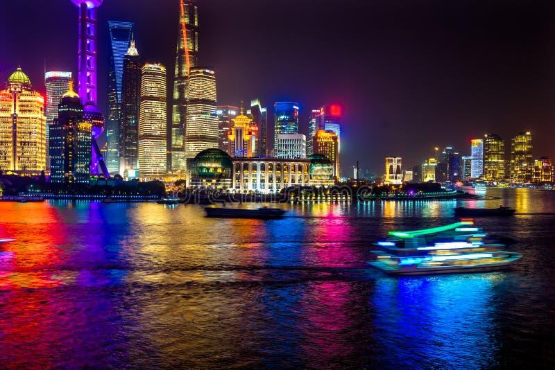 Oriental Pearl TV Tower Pudong Bund Huangpu River Shanghai China. Looking Down Oriental Pearl TV Tower Pudong Bund Huangpu River Skyscrapers Cityscape Shanghai stock photography