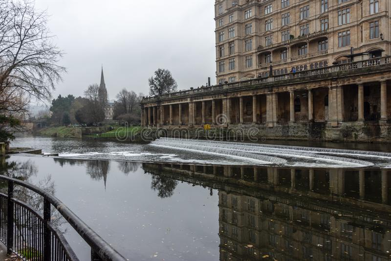 Looking down river from the top of Pulteney weir Bath stock photography