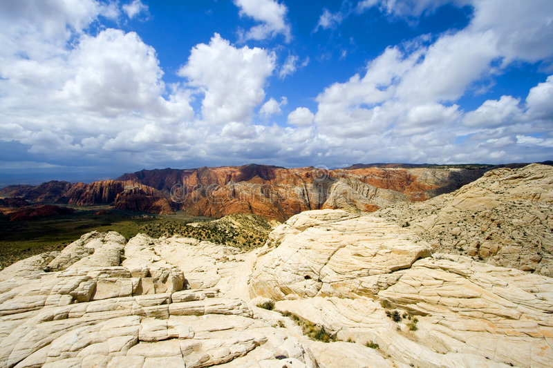 Looking down the Sandstones in to Snow Canyon royalty free stock images