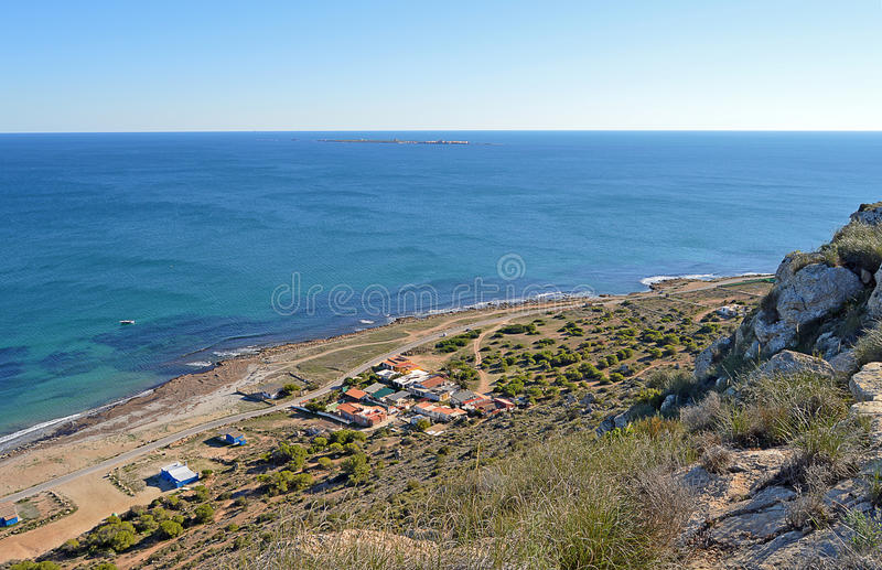 Looking Down From Santa Pola Lighthouse. A view from the lighthouse towards Tabarca Island stock photos