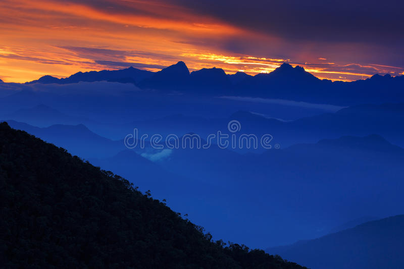 Looking down on Sierra Nevada de Santa Marta, high Andes mountains of the Cordillera, Paz, Colombia. South America royalty free stock image