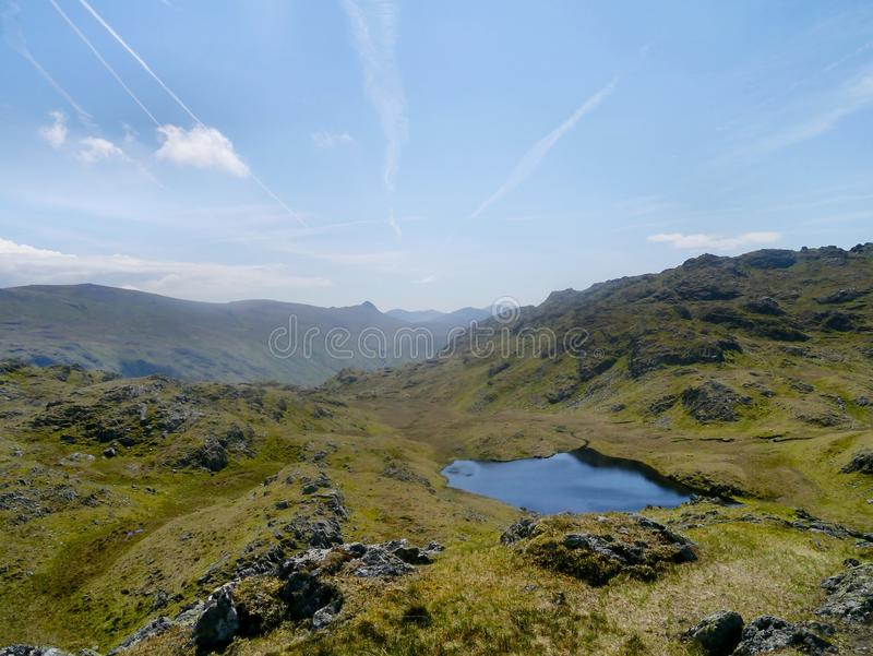 Looking down on Tarn at Leaves, Lake District. Tarn at Leaves on Rosthwaite Fell, Lake District royalty free stock images
